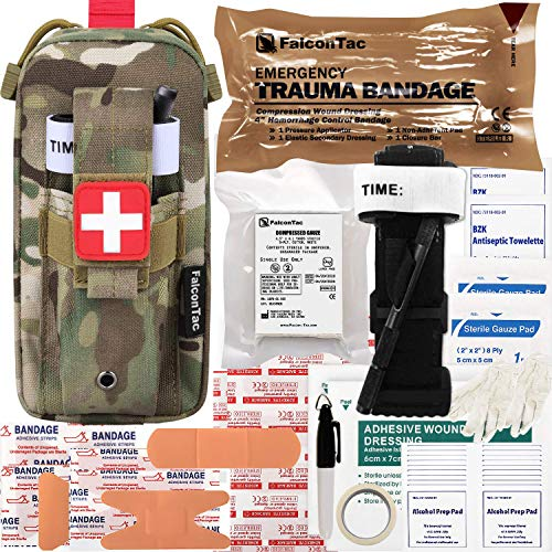 FalconTac Everyday Carry Trauma Kit IFAK Emergency Treatment Care EMT First Aid Kit (Camouflage)