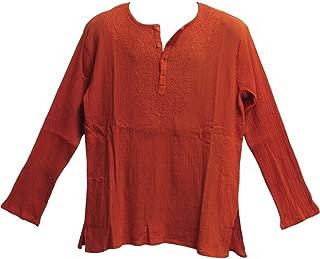 Mens Indian Bohemian Crinkled Gauze Cotton Embroidered Tunic Shirt Kurta Rust Orange