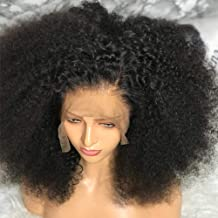 MSGEM Lace Front Human Hair Wigs Mongolian Hair Kinkys Curly Lace Front Wig For Black Women 14 inch Glueless 13x4 Lace Frontal Wig Pre plucked With Baby Hair 150% Density