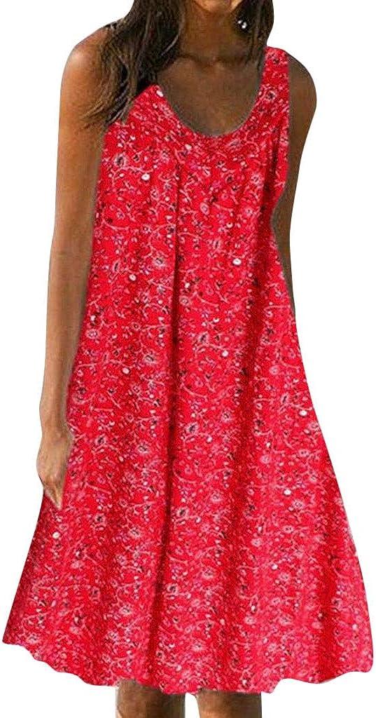 Women Natural Casual Print Sundress, Sleeveless Loose Plus Size Beach Summer Maxi Dress