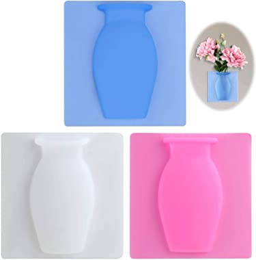 Vase Adhésif en Silicone Vase Suspendu Mural Amovible Magique Vase Petit Pot de Fleurs Sur le Mur pour Maison Salon Salle de