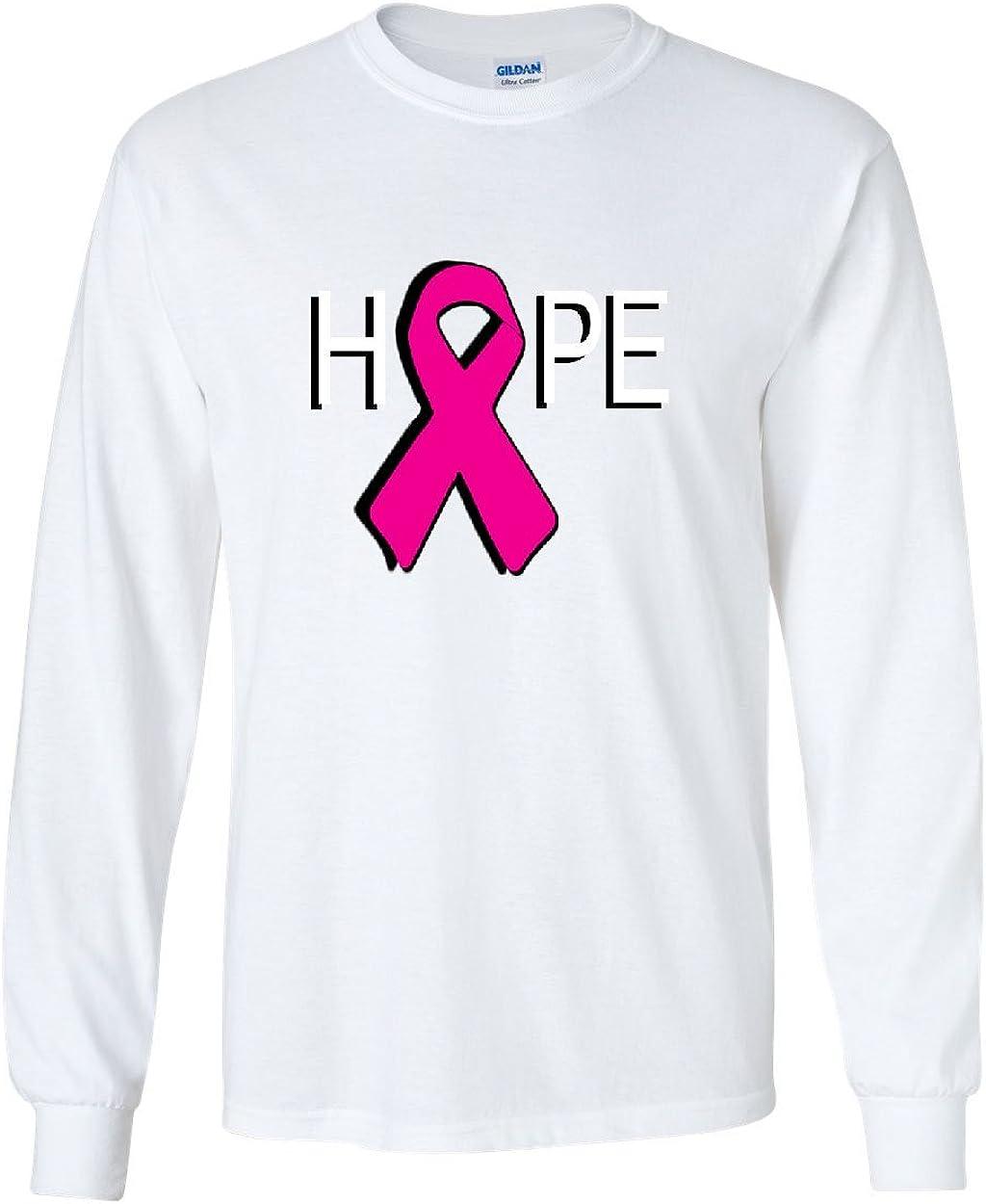 Pink Ribbon Long Sleeve Breast Cancer Awareness Hope Survivor  Shirts