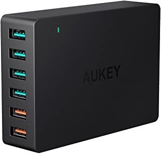 [Quick Charge 3.0対応] AUKEY USB充電器 ACアダプター 60W 6ポート スマホ充電器 急速充電可能 AiPower搭載 iPhone X/iPhone 8 / iPhone 7 / iPhone 7 Plus/iPad Pro/Galaxy/Nexus/Xperia などに対応 (ブラック) 新版 PA-T11