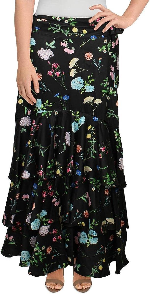PAPER London Womens Neli Ruffled Floral Wrap Skirt