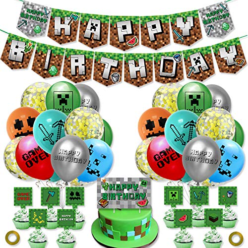 Gaming Cumpleaños Decoracion Globos de Látex Video Gamer Happy Birthday Pancarta Gaming Adornos para Tartas Decoracion Miner Pixel Style Gamer Party Supplies