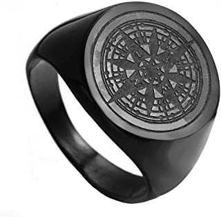 Oakky Men's Stainless Steel Stars Vintage Round Compass Signet Ring (Multi Colors)