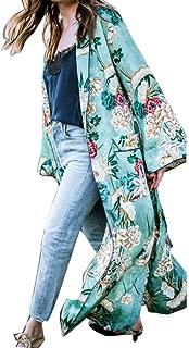 UBuyit Women's Fashion Plus Size Floral Print Lapel Pocket Long Kimono Shirt Cardigan Shawl Tops with Belt