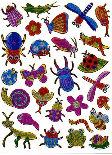 by soljo Insectes Animaux Decal Autocollant de décalque 1 Metallic Glitter Dimensions de la Feuille: 13,5 cm x 10 cm