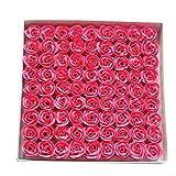 TININNA 81 pcs Jabón de Baño de Rosa Flor de Romántico Perfumada Baño Cuerpo del Favor Regalos Jabón Rose Petal decoración de la Boda-Rosa Caliente
