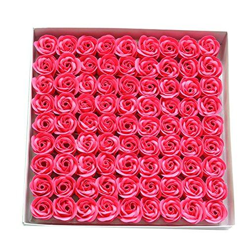 Butterme 81pcs savon de bain parfumé à la main rose fleur de pétales pétales mariage favor dans boîte cadeau - Rose rouge