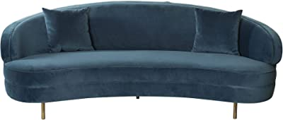DRW Sofá Estilo Chic semiredondo Terciopelo Azul con 2 Cojines, 230X110X83 cm