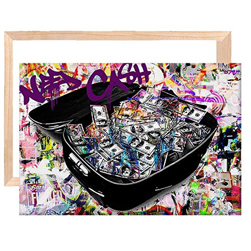 ZXEES Kit de Marco de Lienzo Maleta Imagen de Dinero Cuadro de Lienzo de Pared, Lienzo Camilla Barras Carteles Arte de la Pared Restaurante Dormitorio Decoración del hogar 20x30 Pulgadas