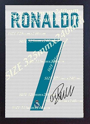 SGH SERVICES - Camiseta del Real Madrid de Cristiano Ronaldo con autógrafo y Marco de 100% algodón