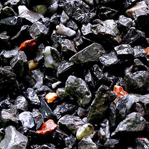 MGS SHOP Zierkies Marmorkies VULKANO gebrochen Marmor Splitt - Farbe schwarz mit Lichtreflexen in rot und weiß(Vulkano-Schwarz)