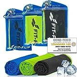 Fit-Flip Kühltuch 3er Set 100x30cm, Mikrofaser Sporthandtuch kühlend, Kühltuch, Cooling Towel,...