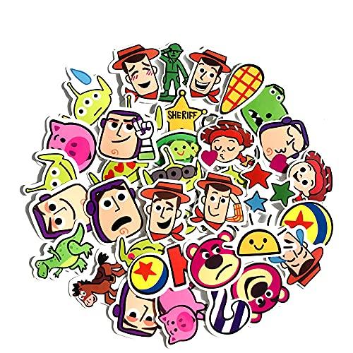Cartoon Toy Story Graffiti Pegatinas Caja del teléfono móvil Portátil Mano Ledger Pegatinas Decorativas 40 Hojas