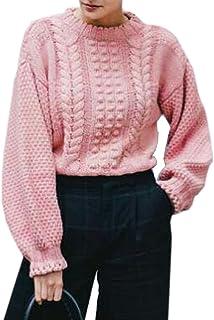 GGTFA De Las Mujeres Casual De Punto Holgado Jersey De Punto Liso Grueso Suéter Puente Superior