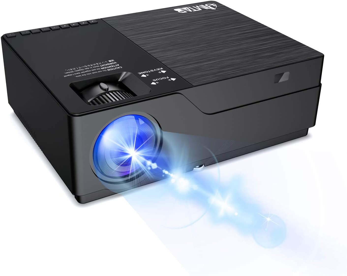 """JIMTAB M18 Native 1080P LED Video Projector, Upgraded HD Projector with 300""""Display Support AV,VGA,USB,HDMI, Compatible with Xbox,Laptop,iPhone and Android for Academic Display (Dark Star)"""