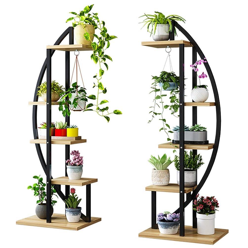 理解笑モス多層フラワーポットラック植物棚スタンド梯子庭家の装飾屋内と屋外 - (ブラック+ウッドカラー、L50xW30xH155cm)