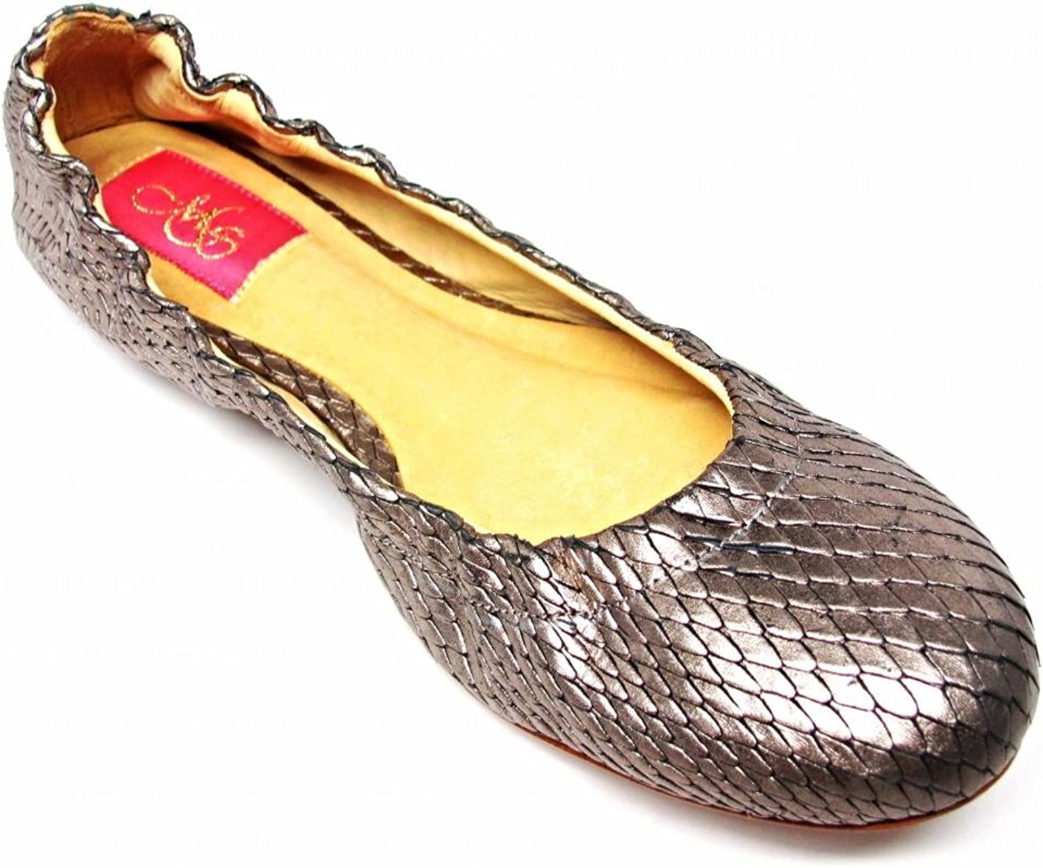 Monticello shoes Amerie Metallic gold Leather Ballerina Ballet Slip on Flats Size 7