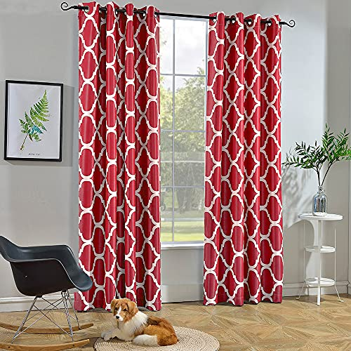 Melodieux Moroccan Fashion Room Darkening Blackout Grommet Top Curtains for Living Room, 52 by 63 Inch, Red (1 Panel)