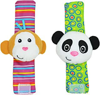 Mine Tom, Minetom 2SET brillante bebé infantil Kids Lamaze suave muñeca calcetines del pie del juguete buscador Rattle Manos alza Correa de muñeca B Una Talla
