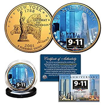 Merrick Mint World Trade Center 9/11 20th Anniversary 2001-2021 NY State Quarter US Coin 24K Gold Plated WTC with Brooklyn Bridge View