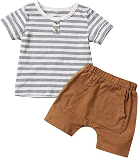 itkidboy Baby Boy Summer Outfits Long Sleeve Stripe Sweatshirt Top +Pants Clothes Set
