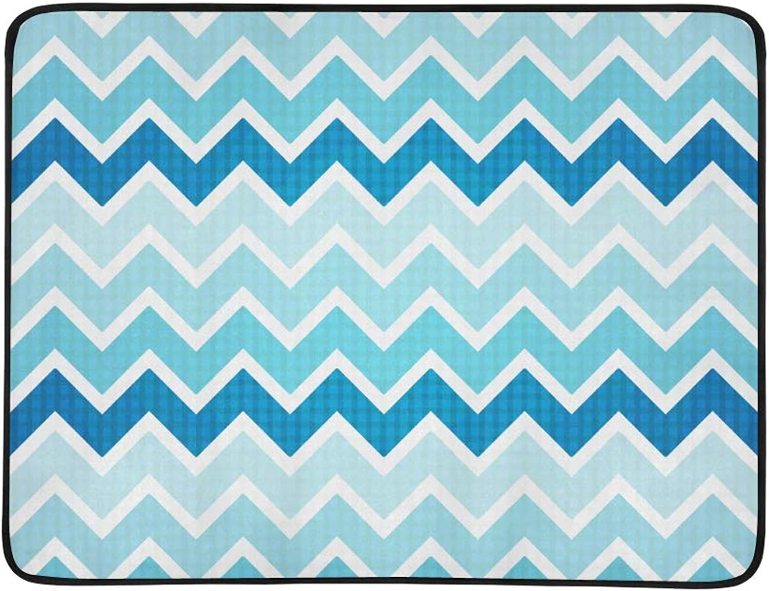 Zigzag Geometric Simple Summer color Pattern Portable and Foldable Blanket Mat 60x78 Inch Handy Mat for Camping Picnic Beach Indoor Outdoor Travel