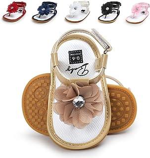 LAFEGEN Infant Baby Girls Sandals Summer Flower T-Strap Soft Anti-Slip Rubber Sole Newborn Toddlers First Walkers Shoes