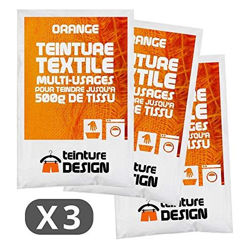 Juego de 3bolsas de tinte textil para ropa y telas naturales, color naranja