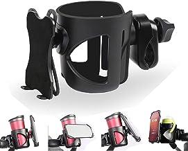 Getränkehalter für Kinderwagen Buggy, 2 in 1 Kinderwagen Becherhalter Handyhalterung, Universal Fahrrad Kinderwagen Flaschenhalter für Trinkflaschen Nuckelflaschen Kaffeehalter, Schwarz