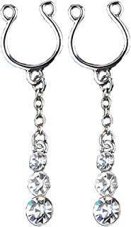 21secret Sexy Body Jewelry Adjustable Cilp on Long Dangle Chain Rhinestones Set Cute Water Drop 2Pcs Non Pierced Fake Nipple Rings