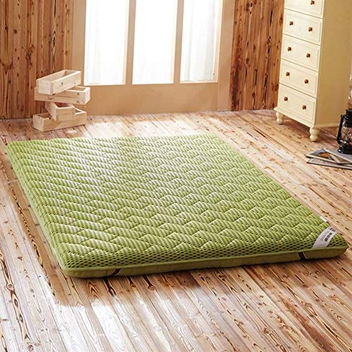 REXUN Thicken Floor Mat, Tatami Mattress topper Reversible Quilted Breathable Soft Japanese Folding Futon Pad-green 135x190x6cm