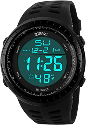 Digital Sports Watch Water Resistant Outdoor Easy Read Military Back Light Black Big Face Men's (Black)