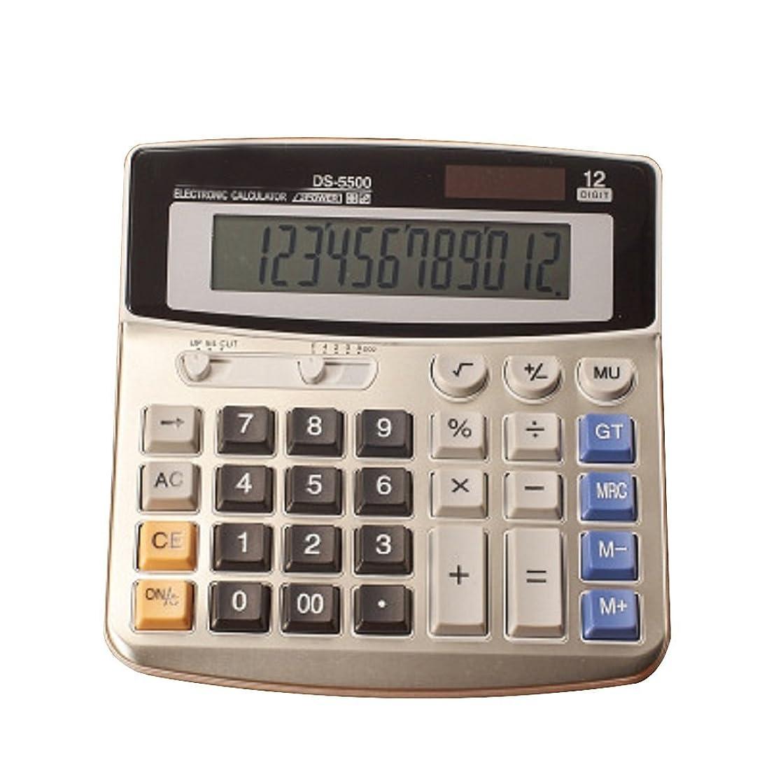 恨み純正状fuyufu電卓12桁デスクトップデュアル電源電卓標準関数電卓ソーラーと電池(without AA単三電池)