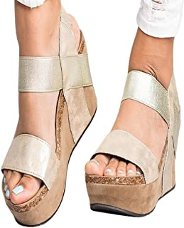 Rajendram Women Wedges Sandals Open Toe Thick Sole Waterproof Wear-Resistant Shoes for Summer