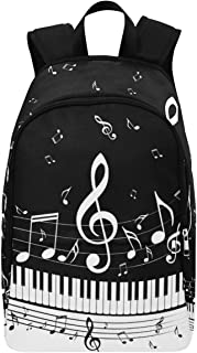 Piano Key Music Notes Casual Backpack College School Bag Travel Daypack