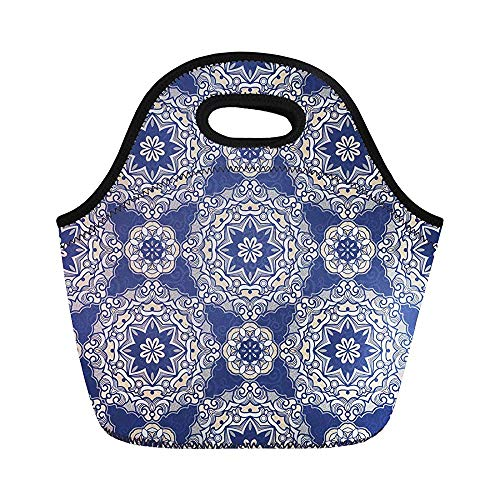 Filigree Vintage in Eastern Ornamental Blue Tracery Verziertes Floral Insulated Neoprene Lunchbag for Women for Work Adult Men Kids Picknic Lunch Box Modern Lunchbox Bag