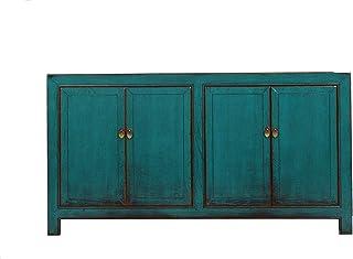 Yajutang - Aparador con dos puertas dobles diseño antiguo color turquesa