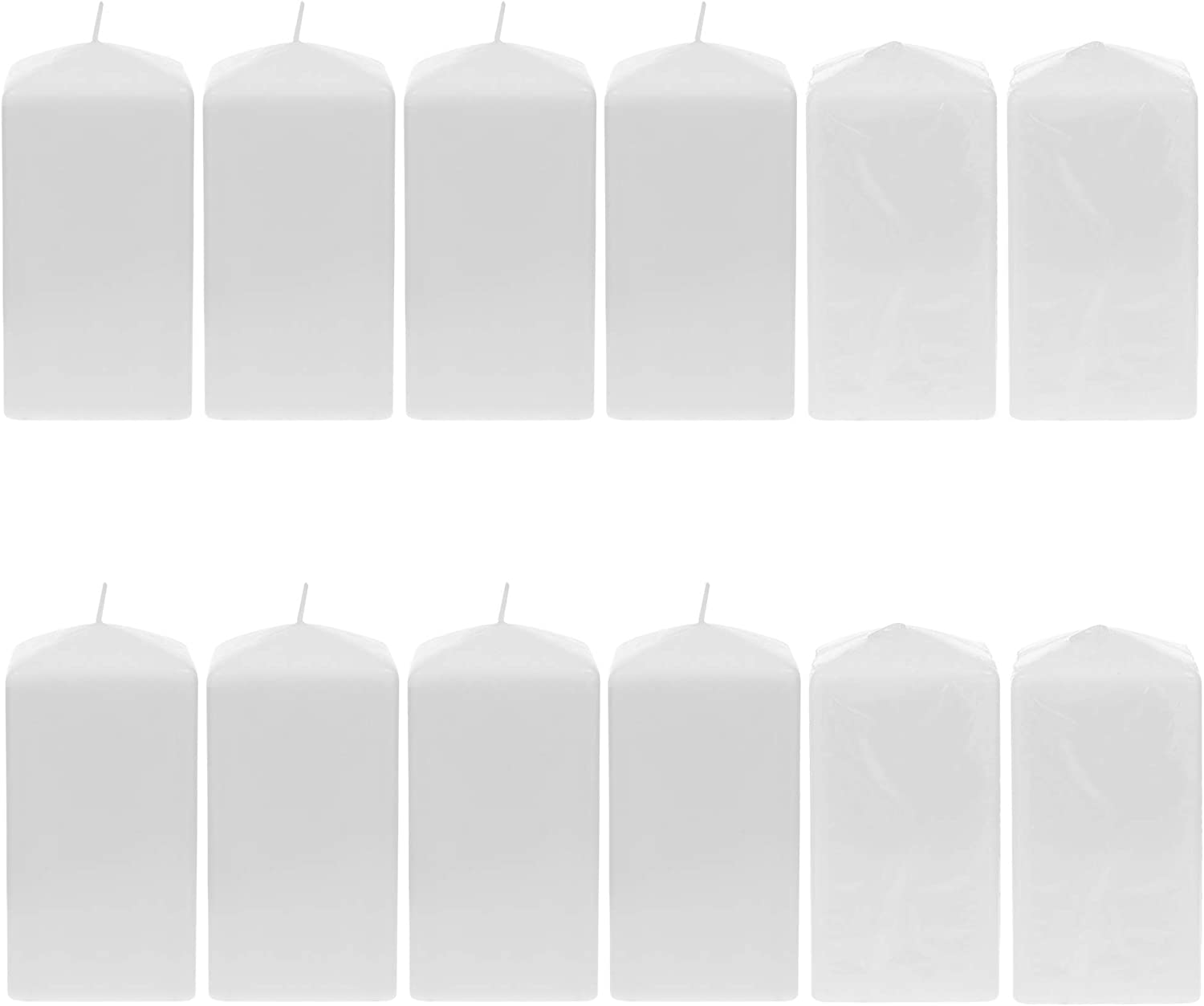 Courier shipping free shipping Mega Candles 12 Max 64% OFF pcs Unscented White Candl Square Top Pillar Dome
