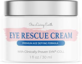 One Living Earth Eye Rescue Cream - Clinically Proven SYN-COLL Collagen-Stimulating Peptide - Anti Aging Formula for Wrinkles, Dark Circles, Fine Lines, Under Eye Bags & Puffiness (1 fl oz)
