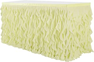 Leegleri Yellow Curly Willow Tulle Tutu Table Skirt for Rectangle or Round Table,Ruffle Table Skirts for Party, Baby Shower,Weeding Decoration(14 ft table skirt)