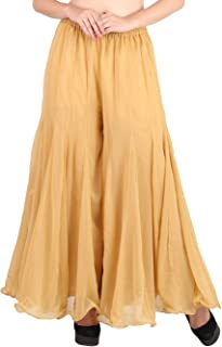 Women's Palazzo Pants Georgette Loose Plain Flared High Waist Sharara