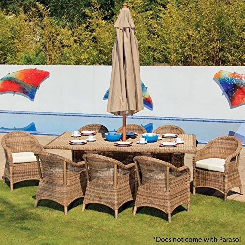 Rattan Wicker Garden Patio 8 Seater Rectangular Dining Set in 4 Seasons