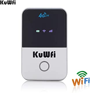 KuWFi 4G LTE Mobile WiFi Hotspot Unlocked Travel Partner Wireless 4G Router with SIM Card Slot Support LTE FDD B1/B3/B5 Support AT&T and U.S. Cellular 4G