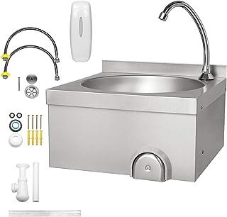 ECD Germany roestvrij stalen handwasbak Gastro met kniebediening en waterkraan, incl. zeepdispenser, 40x40x44cm, industrië...