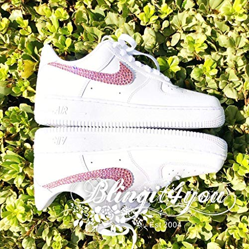 HANDMADE Beedazzled Pink Swarovski crystal Bling NIKE Swooshes Logo for Women White Nike Air Force 1 Shoes Bling Wedding shoes Crystal RN Shoes Crystal Dancing Shoes Gift for Her