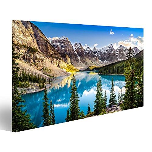 Cuadro Cuadros Ajardine la vista de la puesta del sol del lago Morain y de la cordillera, Alberta, Canadá Impresión sobre lienzo - Formato Grande - Cuadros modernos IAM