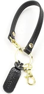 MIRACOLO ショートストラップ ハンドストラップ レザー 本革 イタリアンレザー フック付き キーリング キーチェーン バッグハンドル お洒落 かわいい メンズ レディース 全3色 (black2)